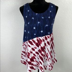[ ALL AT ONCE ] Strappy Back Patriotic Tank Top